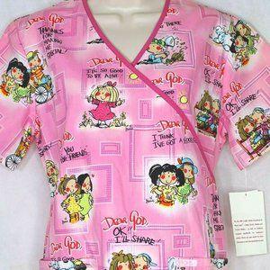 Cherokee Dear God Kids Scrub Top Size XS Pink